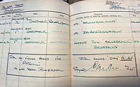 BNPS.co.uk (01202 558833)<br /> Pic:  DavidLay/BNPS<br /> <br /> The last page in Flight Sergeant Douglas Alexander's Logbook - his penultimate raid in April 1945 was to Hitler's Berchtesgaden lair.<br /> <br /> Bomber command heroes WW2 exploits discovered in a shoebox.<br /> <br /> The personal effects of a fearless 'Tail-end Charlie' have been discovered in a shoebox - and they include a charming set of photos of his wartime service.<br /> <br /> Flight Sergeant Douglas Alexander, of 460 Squadron, took part in nearly 40 bombing raids over Germany, including the famous assault on Hitler's mountain retreat, Berchtesgaden.<br /> <br /> As a tail gunner, he sat in a tiny glass turret at the rear of Lancaster and Halifax bombers - a terribly exposed position.<br /> <br /> The shoebox, containing his bravery medals, logbooks and photos, was bought into auctioneer David Lay Frics, of Penzance, Cornwall, by his daughter.<br /> <br /> Flt Sgt Alexander's medal group includes the prestigious Distinguished Flying Medal, awarded for 'exceptional valour, courage and devotion to duty', with his photos capturing the camarederie which existed in the RAF as the airmen risked their lives on every mission to defeat Adolf Hitler.