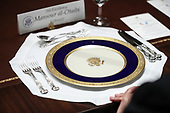 A place setting sits on a table in the Cabinet Room during a luncheon with United States President Donald J. Trump and the Permanent Representatives of the United Nations Security Council in the Cabinet Room of the White House on December 5, 2019 in Washington, DC.<br /> Credit: Oliver Contreras / Pool via CNP