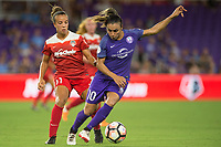 Orlando, FL - Tuesday August 08, 2017: Mallory Pugh, Marta Vieira Da Silva during a regular season National Women's Soccer League (NWSL) match between the Orlando Pride and the Chicago Red Stars at Orlando City Stadium.