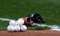 Buffalo Bisons baseballs and gloves on the field before a game against the Pawtucket Red Sox at Coca-Cola Field on April 15, 2012 in Buffalo, New York.  Buffalo defeated Pawtucket 10-9 in ten innings.  (Mike Janes/Four Seam Images)