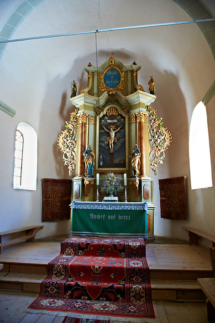 Interior of the medieval fortified church of Harman. A Romaneque church started in 1240 by the Cistercian monks with Gothic elements of architecture .Harman, Braşov, Transylvania. UNESCO World Heritage Site.