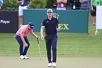 Tyrrell Hatton (ENG) and Matt Wallace (ENG) on the 15th green during the 1st round of the DP World Tour Championship, Jumeirah Golf Estates, Dubai, United Arab Emirates. 21/11/2019<br /> Picture: Golffile | Fran Caffrey<br /> <br /> <br /> All photo usage must carry mandatory copyright credit (© Golffile | Fran Caffrey)