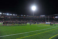 The teams line up before the Steinlager Series international rugby match between the New Zealand All Blacks and France at Westpac Stadium in Wellington, New Zealand on Saturday, 16 June 2018. Photo: Dave Lintott / lintottphoto.co.nz