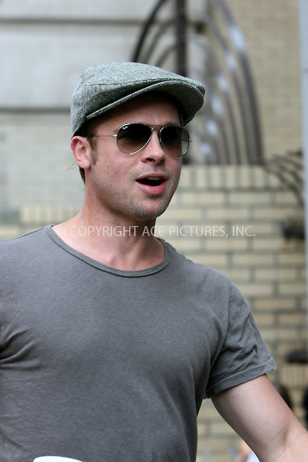 WWW.ACEPIXS.COM . . . . .  ....August 24 2007, New York City....Actor Brad Pitt prepares for his new movie 'Burn after Reading' at a studio in the West Village of Manhattan.....Please byline: NANCY RIVERA- ACE PICTURES.... *** ***..Ace Pictures, Inc:  ..tel: (646) 769 0430..e-mail: info@acepixs.com..web: http://www.acepixs.com