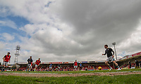 Grimsby players warm up ahead of the Sky Bet League 2 match between Cheltenham Town and Grimsby Town at the The LCI Rail Stadium,  Cheltenham, England on 17 April 2017. Photo by PRiME Media Images / Mark Hawkins.