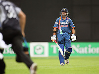 India's Gautam Gambhir walks off after being caught by Grant Elliott during the 2nd ODI cricket match between the New Zealand Black Caps and India at Westpac Stadium, Wellington, New Zealand on Friday, 6 March 2009. Photo: Dave Lintott / lintottphoto.co.nz