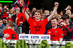 Daniel Griffin Glenbeigh Glencar players celebrate their victory over Rock Saint Patricks in the Junior Football All Ireland Final in Croke Park on Sunday.