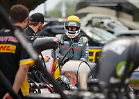Apr 13, 2019; Baytown, TX, USA; NHRA top fuel driver Richie Crampton during qualifying for the Springnationals at Houston Raceway Park. Mandatory Credit: Mark J. Rebilas-USA TODAY Sports