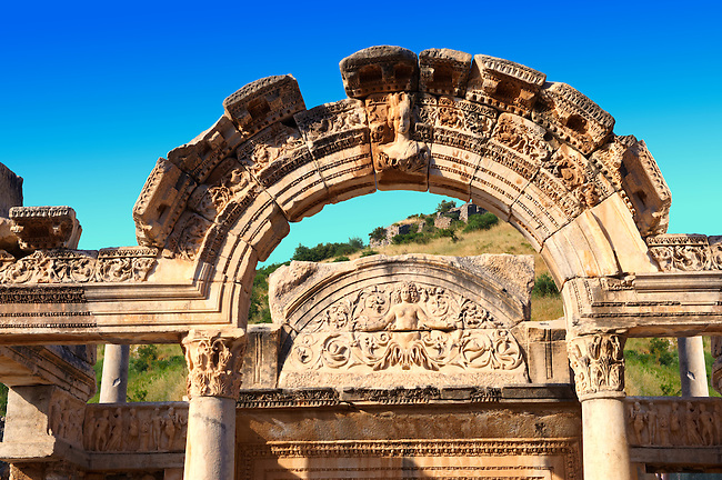 The Temple of Emperor Hadrian on Curetes Street ( 117 - 138 A.D ).  Ephesus Archaeological Site, Anatolia, Turkey.
