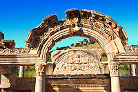 The Temple of Emperor Hadrian on Curetes Street ( 117 - 138 A.D ).  Ephesus Archaeological Site, Anatolia, Turkey.