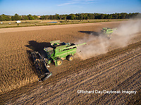 63801-08907 Soybean Harvest, 2 John Deere combines harvesting soybeans - aerial - Marion Co. IL