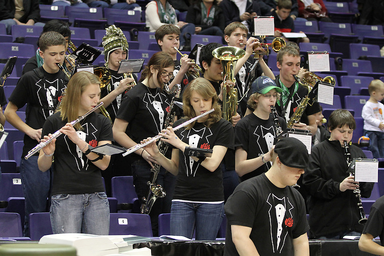 Photograph from the 2010-11 Mt. Rainier Lutheran High School boy's basketball State Tournament run.