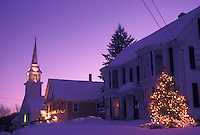 Vermont, VT, Scenic village of East Corinth in the evening decorated for Christmas in the winter.
