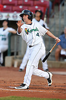Cedar Rapids Kernels Sean Miller (4) swings during the game against the Clinton LumberKings at Veterans Memorial Stadium on April 14, 2016 in Cedar Rapids, Iowa.  The Kernels won 7-3.  (Dennis Hubbard/Four Seam Images)