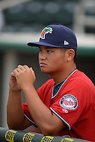 Fort Myers Miracle pitcher Chih-Wei Hu (30) before a game against the Tampa Yankees on April 15, 2015 at Hammond Stadium in Fort Myers, Florida.  Tampa defeated Fort Myers 3-1 in eleven innings.  (Mike Janes/Four Seam Images)