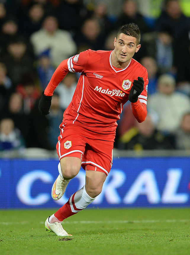 Cardiff City's Federico Macheda in action during todays match  <br /> <br /> Photographer Ian Cook/CameraSport<br /> <br /> Football - The Football League Sky Bet Championship - Cardiff City v Watford - Saturday 28th December - Cardiff City Stadium - Cardiff<br /> <br /> &copy; CameraSport - 43 Linden Ave. Countesthorpe. Leicester. England. LE8 5PG - Tel: +44 (0) 116 277 4147 - admin@camerasport.com - www.camerasport.com