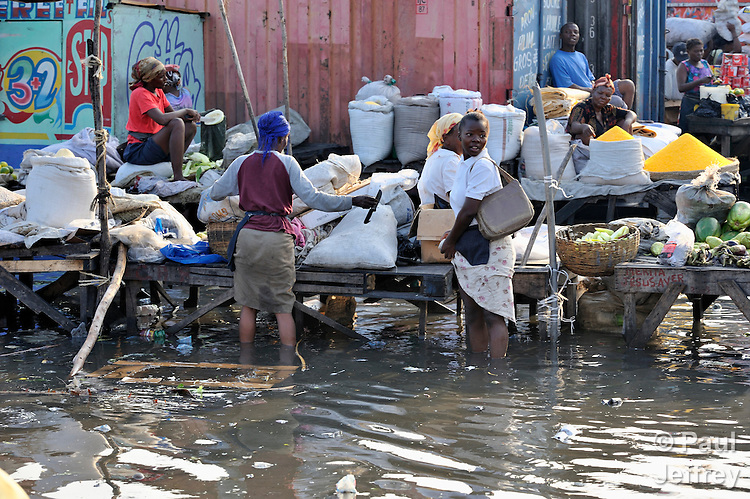 After heavy rains, the water rises in the Croix-des-Bossales market in the La Saline neighborhood of Port-au-Prince, Haiti.