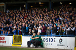 Home supporters in the grandstand cheering their team on during the first-half as Coleraine played Spartak Subotica of Serbia in a Europa League Qualifying First Round second leg at the Showgrounds, Coleraine. The hosts from Northern Ireland had drawn the away leg 1-1 the previous week, however, the visitors won the return leg 2-0 to progress to face Sparta Prague in the next round, watched by a sell-out crowd of 1700.