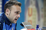 Getafe's Juan Cala in press conference after La Liga match. February 27,2016. (ALTERPHOTOS/Acero)