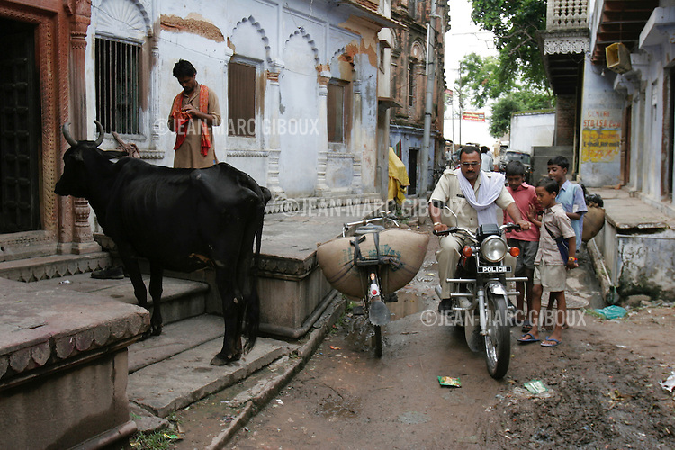 """.VARANASSI, UTTAR PRADESH, INDIA - SEPTEMBER 16, 2005 : Life along the Gange river, in the alleyway of the old city of Varanassi. Varanassi, also named Benares or Kachi, is one of the holiest place for Hindus in India, drawing millions of pilgrims every year. They come to prey to along the temples lining the ghats, and purify themselves in the """"Holi Ganga"""".(Photo by Jean-Marc Giboux)"""