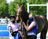First past the post in The AJN Steelstock Henstridge Apprentice Handicap  Kodiac Pride ridden by Kaia Ingolfsland and trained by Sir Mark Prescott  forfeits the race after being light at weigh in due to weight cloth coming off  during Horse Racing at Salisbury Racecourse on 9th August 2020