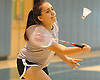 Stephanie Tavel of East Meadow returns a volley during the Nassau County varsity girls badminton doubles final at Bellmore JFK High School on Saturday, May 14, 2016. She and doubles partner Rachel Polansky defeated Mia Froccaro and Megan Maley of Port Washington to win the county championship.