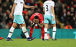 Nathaniel Clyne of Liverpool reacts during the Premier League match at Anfield Stadium, Liverpool. Picture date: December 11th, 2016.Photo credit should read: Lynne Cameron/Sportimage