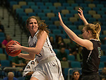 Idaho's  Mikayla Ferenz looks to pass as Portland State's Corey James defends           in a women's Big Sky Tournament semi-final game held at the Reno Events Center on Friday, March 9, 2018 in Reno, Nevada.