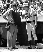 Oakland Athletics manager Dick Williams argue with home plate Umpire..1972 photo/Ron Riesterer.
