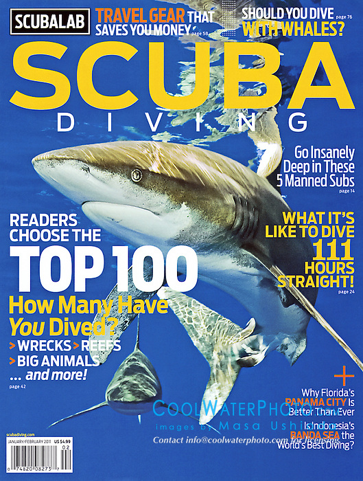 Scuba Diving Magazine, January / February 2011, magazine cover use, USA, Image ID: Oceanic-Whitetip-Shark-0064-V