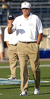 Florida International University Golden Panthers (0-5, 0-2) football versus Arkansas State University Indians (2-2, 1-0) at Miami, Florida on Saturday, September 30, 2006.  The Indians defeated the Golden Panthers 31-6...Coach Strock observes his players during pre-game warm-ups.