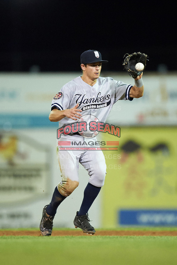 Staten Island Yankees second baseman Nick Solak (59) during a game against the Batavia Muckdogs on August 26, 2016 at Dwyer Stadium in Batavia, New York.  Staten Island defeated Batavia 6-2.  (Mike Janes/Four Seam Images)