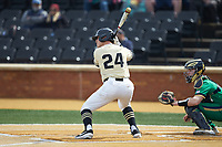 Chris Lanzilli (24) of the Wake Forest Demon Deacons at bat against the Notre Dame Fighting Irish at David F. Couch Ballpark on March 10, 2019 in  Winston-Salem, North Carolina. The Demon Deacons defeated the Fighting Irish 7-4 in game one of a double-header.  (Brian Westerholt/Four Seam Images)