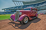 25 August 2013: Local hot rods take a tour of the field prior to a game between the Kansas City Royals and the Washington Nationals at Kauffman Stadium in Kansas City, MO. The Royals defeated the Nationals 6-4, to take the final game of their 3-game inter-league series. Mandatory Credit: Ed Wolfstein Photo *** RAW (NEF) Image File Available ***