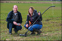 BNPS.co.uk (01202 558833)<br /> Pic: PhilYeomans/BNPS<br /> <br /> Slug patrol - boffin's Emily Forbes and Tom Pope track slugs...very slowly.<br /> <br /> Researchers are hoping to save the farming industry millions of pounds by fitting slugs with tracking devices for the first time - The subterranean movements of the destructive creatures has been largely unknown till now.<br /> <br /> The pests, which cost arable farmers tens of millions a year treating crops, have been fitted with a device similar to the microchips used in cats and dogs so scientists can learn more about their movements.<br /> <br /> The three-year project at Harper Adams University in Edgmond, Shropshire, will enable them to track the slugs even when they are underground, giving them a more accurate picture of the gastropods' behaviour.