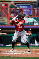 Altoona Curve Jason Delay (14) at bat during an Eastern League game against the Erie SeaWolves and on June 4, 2019 at UPMC Park in Erie, Pennsylvania.  Altoona defeated Erie 3-0.  (Mike Janes/Four Seam Images)