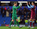 West Ham United goalkeeper David Martin celebrates with Fabian Balbuena of West Ham United at the end of the Premier League match at Stamford Bridge, London. Picture date: 30th November 2019. Picture credit should read: Robin Parker/Sportimage