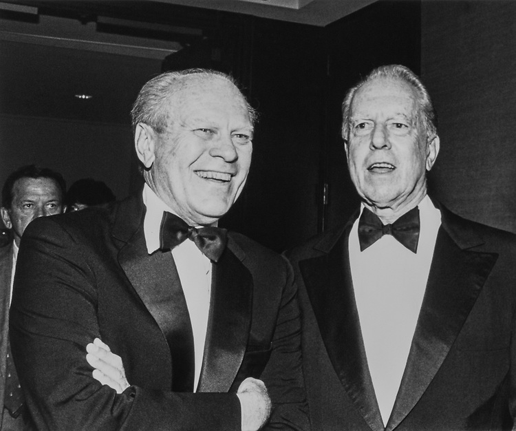 Former President, Gerald Ford, R, and Sen. Robert Stafford, R-Vt., at the Stafford tribute at the Sheraton Grand. 1988 (Photo by Andrea Mohin/ CQ Roll Call)