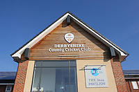 The Derbyshire County Cricket Club sign on the pavilion ahead of Derbyshire CCC vs Essex CCC, Specsavers County Championship Division 2 Cricket at the 3aaa County Cricket Ground on 15th August 2016
