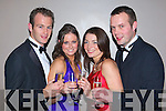 CHEERS: Ringing in the new year at the New Year's Eve Gala Ball held in the Malton Hotel, Killarney, on Monday were l-r: Niall Cronin (Kiskeam), Adele Hickey (Cullen), Anita Sherlock (Millstreet) and Cian O'Connor (Kiskeam).   Copyright Kerry's Eye 2008