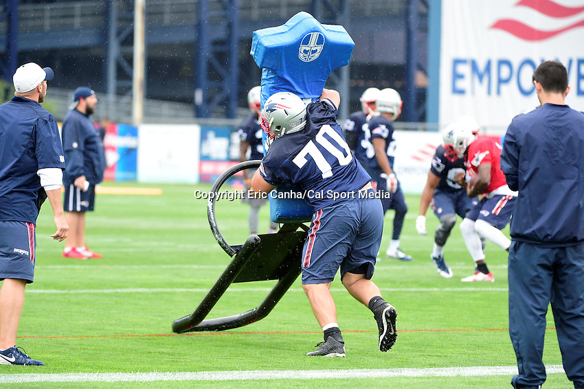 Friday, July 29, 2016: New England Patriots defensive tackle Joe Vellano (70) works with a training aid at the New England Patriots training camp held on the practice fields at Gillette Stadium in Foxborough Massachusetts. Eric Canha/CSM