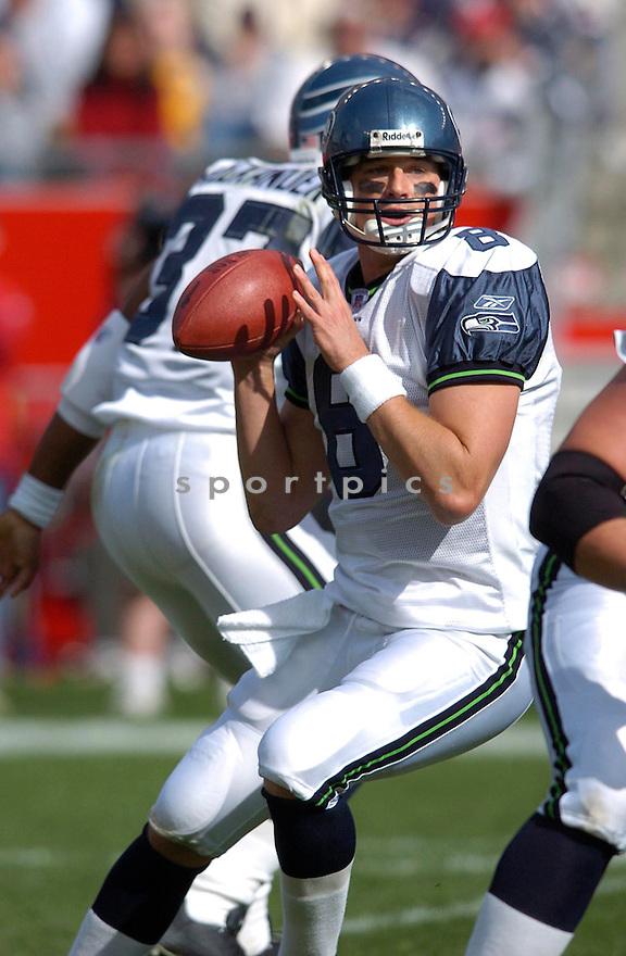 Matt Hasselbeck during the Seattle Seahawks v. New England Patriots on October 17, 2004...Patriots win 30-20..Chris Bernacchi / SportPics
