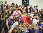 WATERTOWN, CT, 31 August, 2017 - 083117LW03 - Watertown High School Senior Brendan Law, in hat, cheers with his classmates at the start of a new school year Thursday.<br /> Laraine Weschler Republican-American