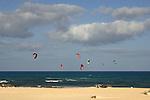 Kite surfing, Corralejo beach, Fuerteventura, Canary Islands, Spain.