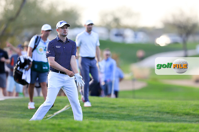 Russell Knox (SCO) on the 15th fairway during the 2nd round of the Waste Management Phoenix Open, TPC Scottsdale, Scottsdale, Arisona, USA. 01/02/2019.<br /> Picture Fran Caffrey / Golffile.ie<br /> <br /> All photo usage must carry mandatory copyright credit (© Golffile | Fran Caffrey)