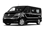 Stock pictures of low aggressive front three quarter view of a 2020 Renault Trafic Space Class 4 Door Passenger Van
