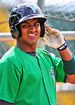 24 July 2010: Vermont Lake Monsters infielder Hendry Jimenez awaits his turn in the batting cage prior to a game against the Lowell Spinners at Centennial Field in Burlington, Vermont. The Lake Monsters fell to the Spinners 11-5 in NY Penn League action. Mandatory Credit: Ed Wolfstein Photo