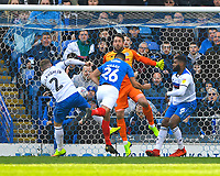 Gareth Evans of Portsmouth heads the third goal to make the score 3-1 during Portsmouth vs Rochdale, Sky Bet EFL League 1 Football at Fratton Park on 13th April 2019