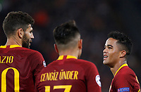 Roma's Justin Kluivert, right, celebrates with his teammates after scoring during the Champions League football match between Roma and Viktoria Plzen at Rome's Olympic stadium, October 2, 2018.<br /> UPDATE IMAGES PRESS/Riccardo De Luca