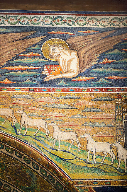 Mosaic of St Luke the Evangelist represnted by a bull. 6th century AD Byzantine Roman Mosaics of the Basilica of Sant'Apollinare in Classe, Ravenna Italy